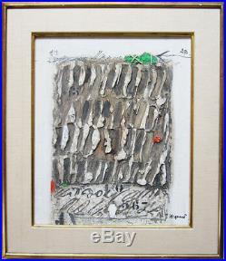 JAMES COIGNARD Signed 1970 Original Mixed Media on Linen Petit objet vert lié