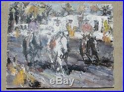 JAMES COLT, Listed Western Artist, Three Cowboy Riders, Mixed media painting