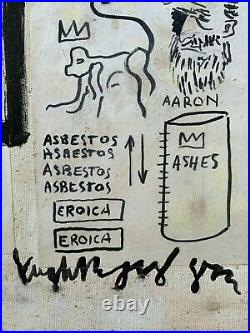 JEAN MICHAEL BASQUIAT mixedmedia on canvas of 80's- MASTERPIECE! ART BRUT