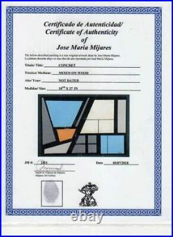 JOSE MARIA MIJARES. Geometric Original mix media on panel. COA. Hard-edge style