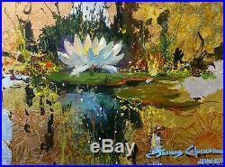 James Coleman Lily Reflections Original Mixed Media/canvas 12x16 Gallart