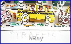 James Rizzi Original Traffic 3D Construction Relief Signed Mixed Media Cars Art