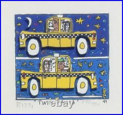 James Rizzi Twin Taxis 3-D Construction Lithograph