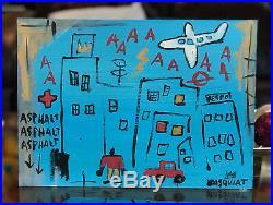 Jean-Michel Basquiat Original Mixed Media Painting Blue City Signed
