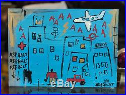 Jean-Michel Basquiat Original Mixed Media Painting Blue Cityscape
