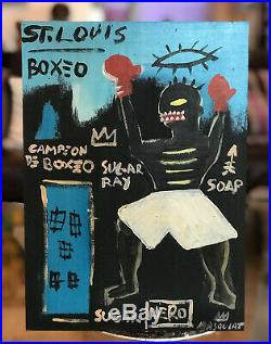 Jean-Michel Basquiat Original Mixed Media Painting Boxeo