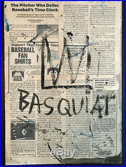 Jean-Michel Basquiat Original Mixed Media Painting Captain America On Panel