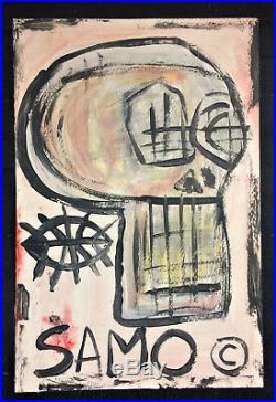 Jean-Michel Basquiat Skull SAMO Postcard Style gouache painting