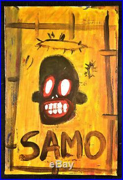 Jean-Michel Basquiat Untitled SAMO Postcard Style acrylic painting