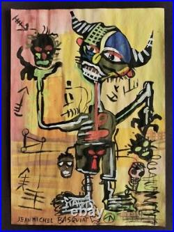 Jean-Michel Basquiat drawing on paper signed & stamped mixed media VTG ART