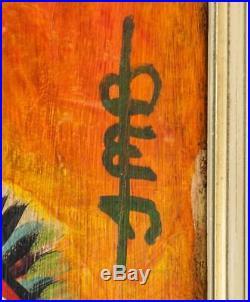 Jean-michel Basquiat Original Hand Drawn And Signed Skull Mixed Media