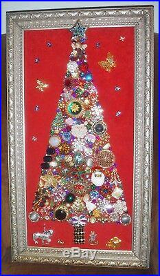 Jewelry Art Christmas Tree, signed and framed