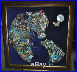 Jewelry Art Horse with colt, Super Estate Frame, signed by Artist