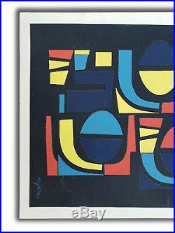 Jose Maria Mijares Collage Mixed Media Laid On Cardboard with COA circa 60s