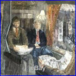 Juliet A Wheeler Fabric Patch Work Art Collage painting The Railway Carriage