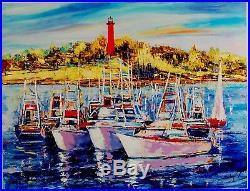Jupiter by Duaiv (Framed Fine Art on Canvas Mixed Media Lighthouse Sail Boat)