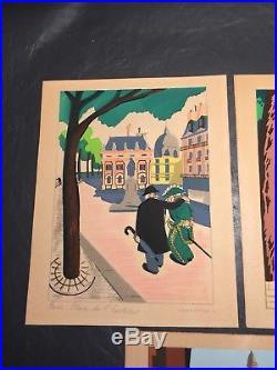 KERMORVER 5 Hand Painted Signed GOUACHE ENTOILE FRANCE PARIS