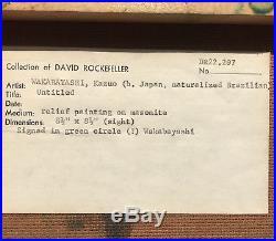 Kazuo Wakabayashi Mixed Media Abstract From David Rockefeller Estate Collection