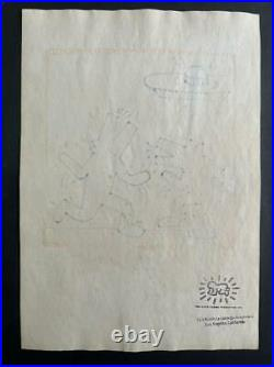 Keith Haring Drawing On Old Paper Mixed Media Vtg Art