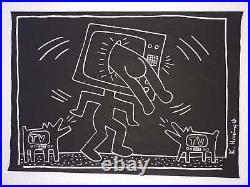 Keith Haring Drawing on Paper Signed & stamped Mixed Media