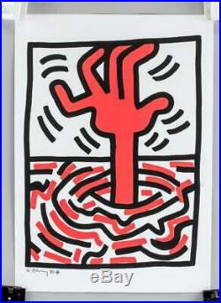 Keith Haring signed mixed media on paper and Taxco Haring like gator