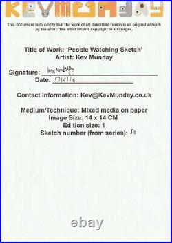 Kev Munday Original Signed Mixed Media Doodle Drawing Modern Contemporary Art