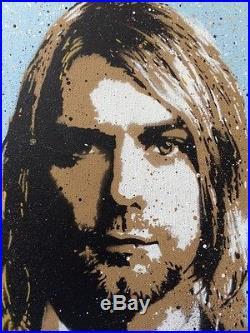 Kurt Cobain Nirvana 1/1 Original Mixed Media Canvas Art Print By Moniker