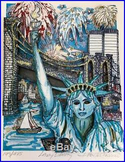 LADY LIBERTY Charles Fazzino 3-D Art Signed #193/475 NYC Skyline Twin Towers WTC