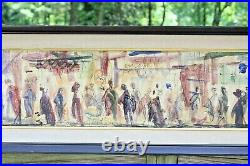 Large PASCAL CUCARO Signed Mid Century Mixed Media Painting On Canvas Abstract