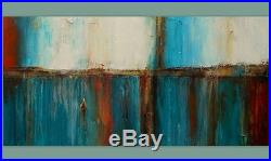 Large Turquoise Gold and Brown Abstract Painting Original Landscape Art 60x30