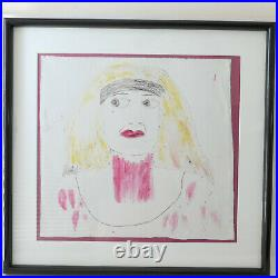 Lee Godie Outsider Art Bag Lady Portrait Painting on canvas 16 X 15 Framed