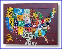 License Plate Map of the USA Metal Reproduction Print 30 x 20