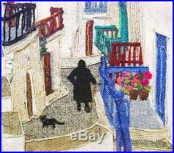 Lilly Kristensen STREET AT MYKONOS Original Wool Collage, Greece, MAKE AN OFFER