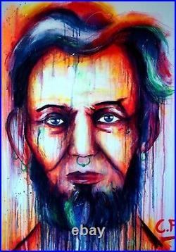 Lincoln GEMÄLDE abstrakt C. FANTA art Bild portrait Kunst Leinwand MALEREI