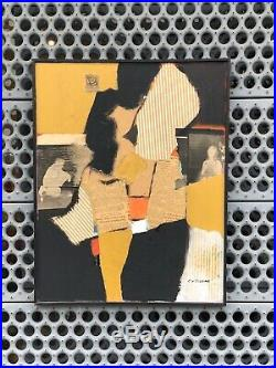 Listed Artist Edward George Bisone Mid Century Abstract / Mixed Media Painting