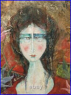 Luciano Spazzali Abstract Mixed Media Painting Portrait of Woman with Cat 23x31