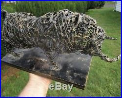 MID-CENTURY MODERN SIGNED 60's STEEL WIRE MIXED MEDIA WESTERN ART BULL SCULPTURE