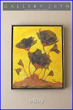 MID Century Modern Abstract Flowers Expressionist Art! Orig. Painting Vtg 60's