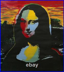 MONA LISA by STEVE KAUFMAN Andy Warhol -Mixed Media on Canvas- SIGNED & UNIQUE