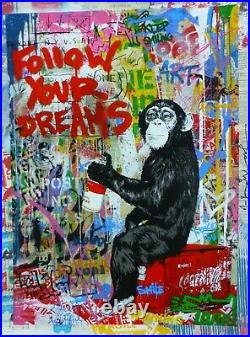 MR BRAINWASH ICONICFollow your dreams Unique Mixed media Orig HAND SIGNED 1/1