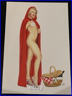 Marilyn Monroe Comic Pin Up Red Riding Hood Original Realism Art By Tim Grayson
