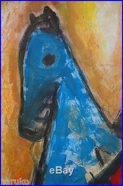Marini Marino Blue Horse 1950 Jack Palance Auction 17.5x23 Mixed Media Drawing