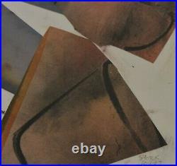 Mary Stork Original Mixed Media Collage Painting Terracotta Pots Cornish Art