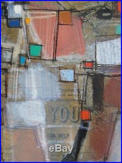 Max Gunther (1934-1974) Swiss Abstractionist Stunning Original Oil/Mixed Media
