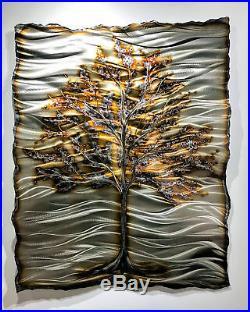 Metal Wall Sculpture Contemporary Abstract Tree Copper Aluminum Art Decor Modern