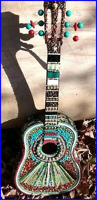 Mexican Fan Guitar, Mosaic Wall, Art Stained Glass Handcrafted
