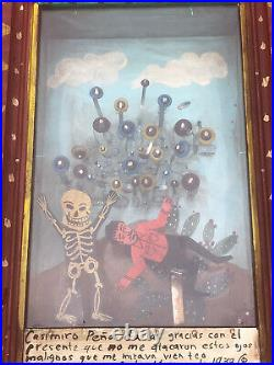 Mexican Folk Art Magnificent Skeleton & Bouncing Evil Eyes 3D Retablo Box Shrine