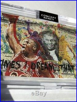 Michael Jordan Concept Rency Art Gold Diamond Dust $2 Bill Rency Signed # 1 of 1