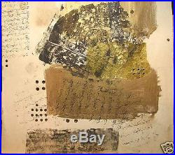 Mid-East 60s Abstract Mixed Media Calligraphic Print
