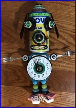Mixed Media DOG Clock Sculpture by Mark Brown, Boss Brown Art, New Hampton, MA